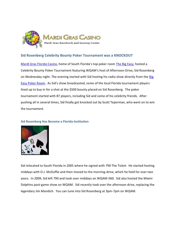 Sid Rosen Celebrity Bounty South Florida Poker Tournament by