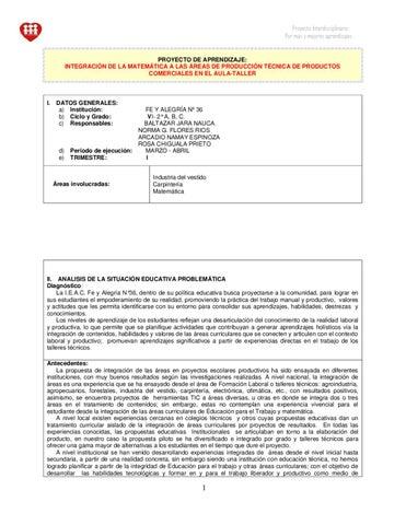 Proyecto Interdisciplinario Matemática -Educación para el Trabajo by ...