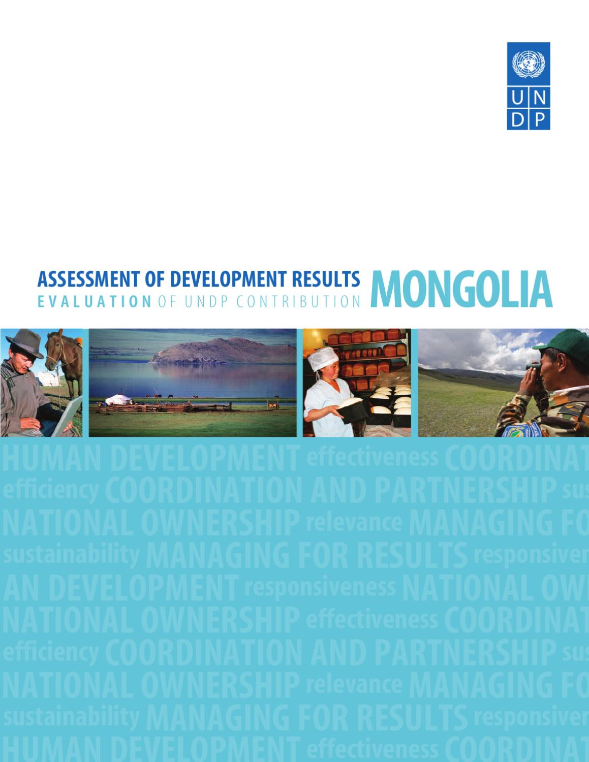 assessment of development results mongolia by undp