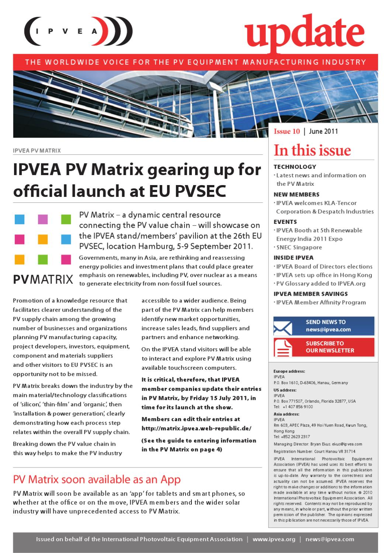 IPVEA Update June 2011 by The International PV Equipment