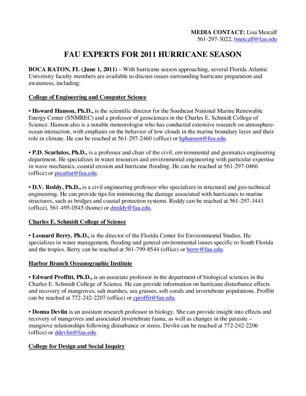 Fau Experts For 2011 Hurricane Season By Marc Kozlin Issuu