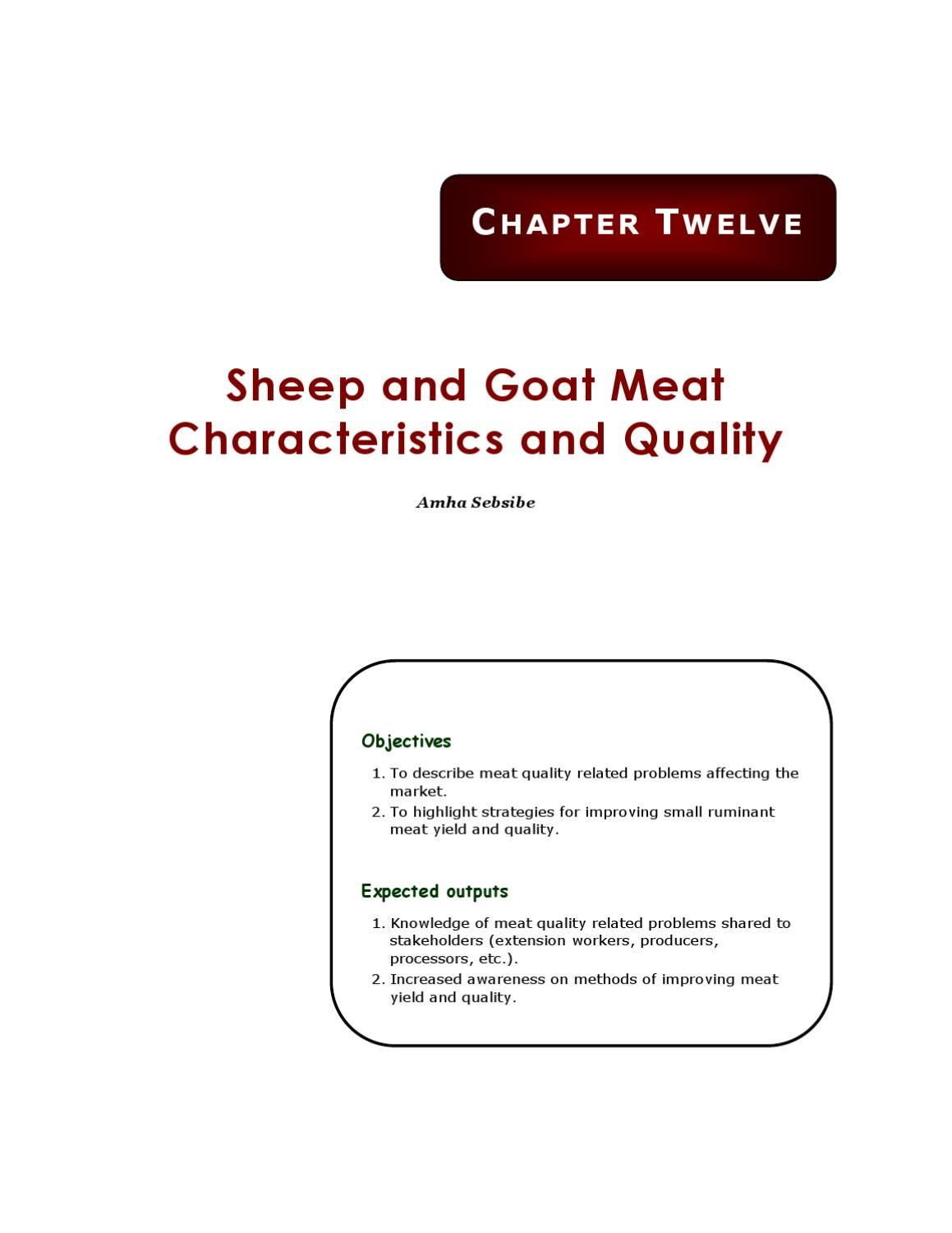Sheep and goat meat characteristics and quality by Roger