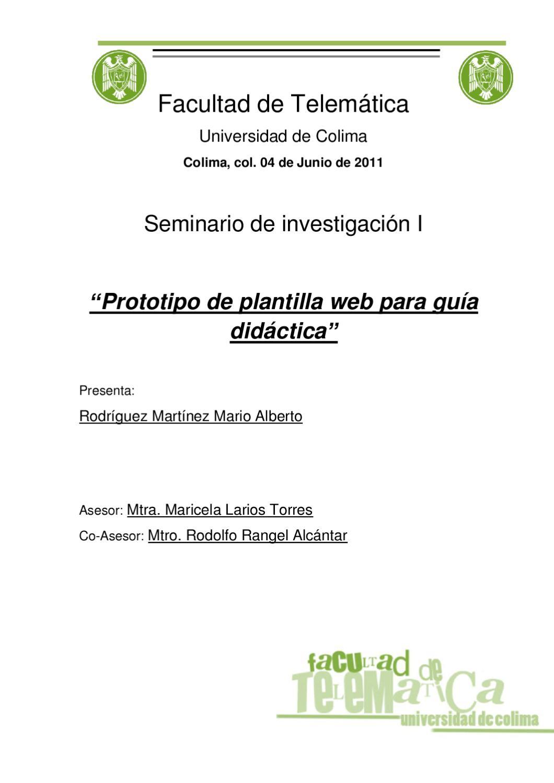 """Prototipo de plantilla web para guía didáctica"""" by mario rodriguez ..."""