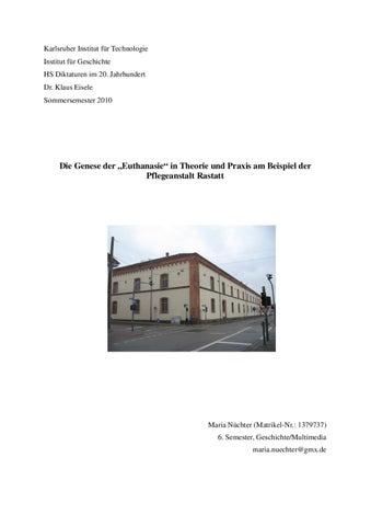 """Die Genese der """"Euthanasie"""" in Theorie und Praxis am Beispiel der ..."""