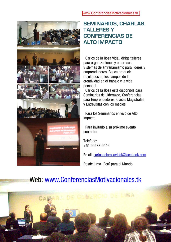 Conferencias Motivacionales Lima Perú By Carlos De La Rosa