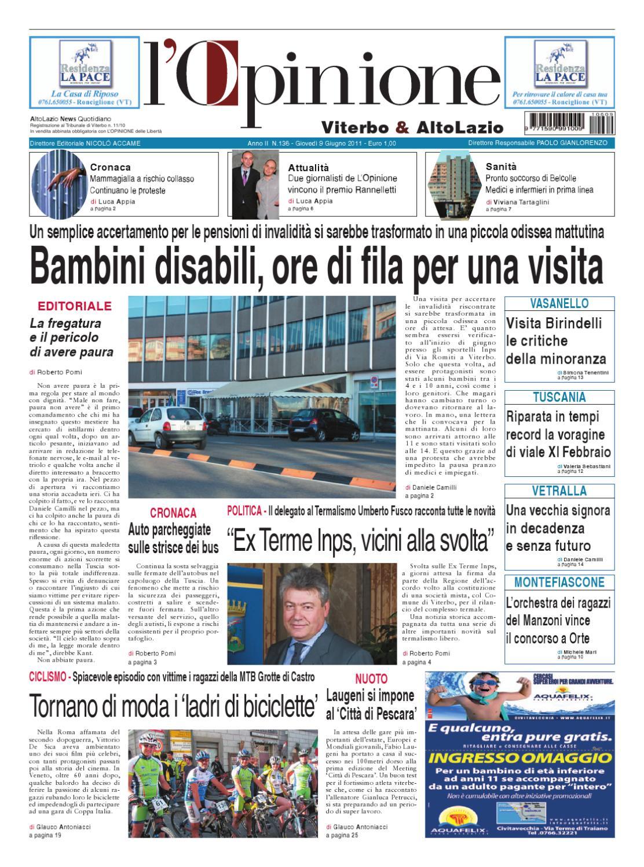 L Opinione di Viterbo e Lazio nord - 9 giugno 2011 by Nuovo Viterbo Oggi -  issuu 0934b9994ab3