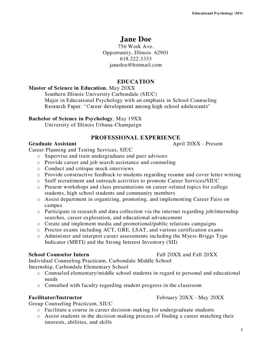 Middle School Counselor Cover Letter  SaraheppsCom