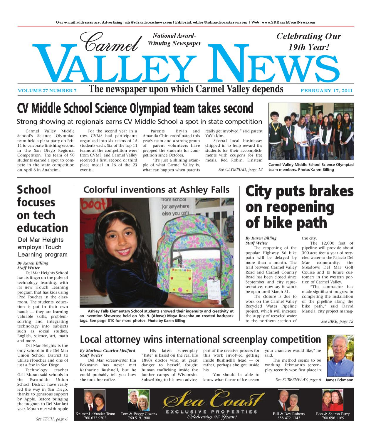 2-17-2011 Carmel Valley News by MainStreet Media - issuu on