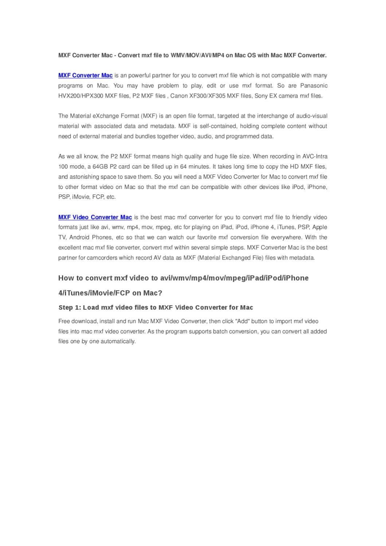 MXF Converter Mac - Convert mxf file to WMV/MOV/AVI/MP4 on
