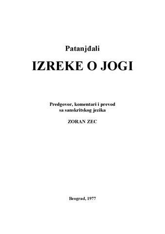 Izreke O Jogi Patanjđali By Dalibor Purhmajer Issuu