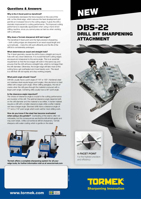 Drill Bit Sharpener Tormek DBS-22 The Drill Bit Sharpening Jig Attachment For Tormek Water-Cooled Sharpening Systems.