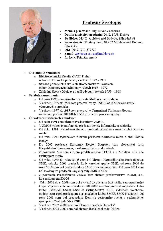 Profesny Zivotopis By Istvan Zacharias Issuu