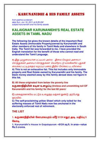KALAIGNAR KARUNANIDHI'S REAL ESTATE ASSETS IN TAMIL NADU by