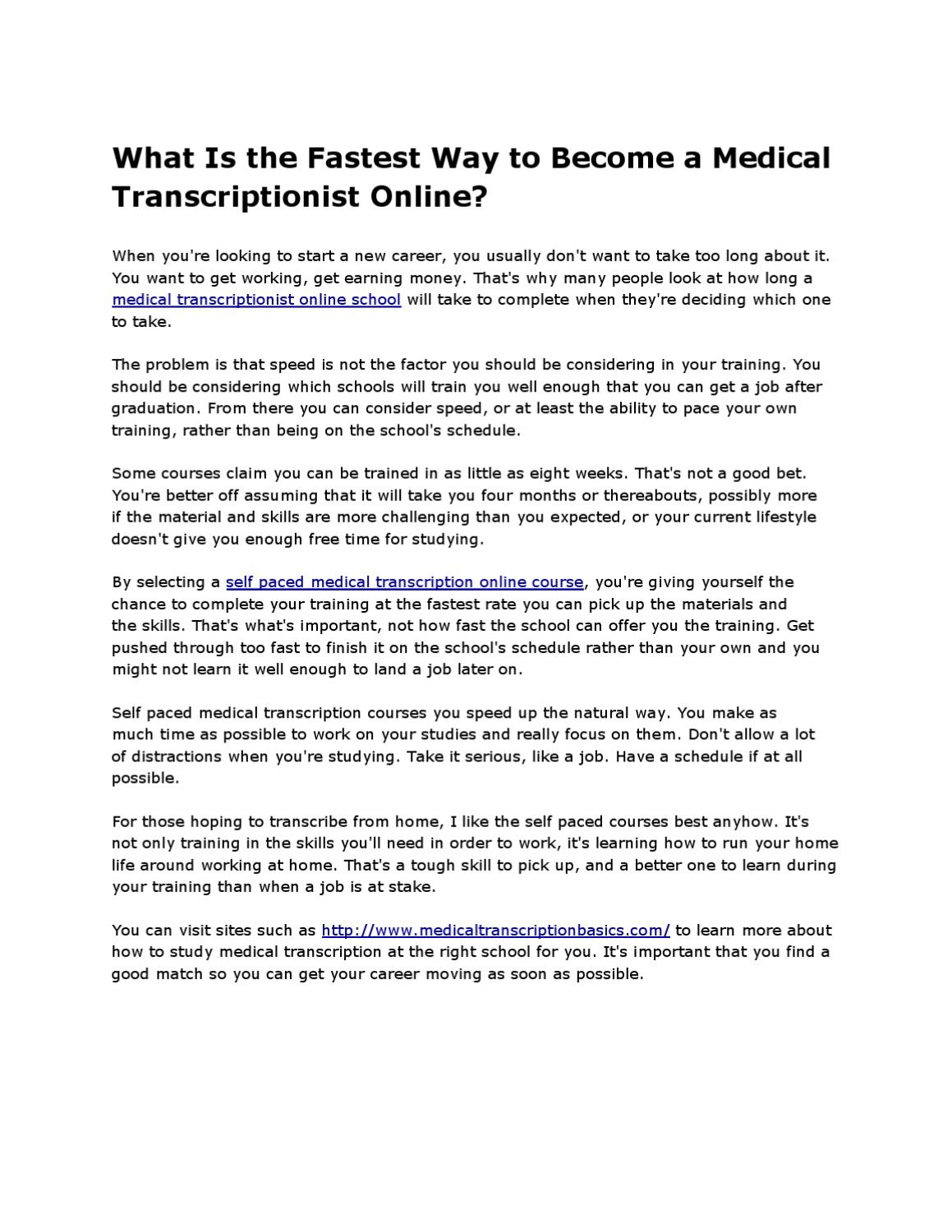 What Is The Fastest Way To Become A Medical Transcriptionist Online