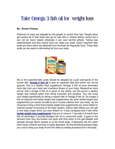 Take Omega 3 Fish Oil For Weight Loss By Emma Thomas Issuu