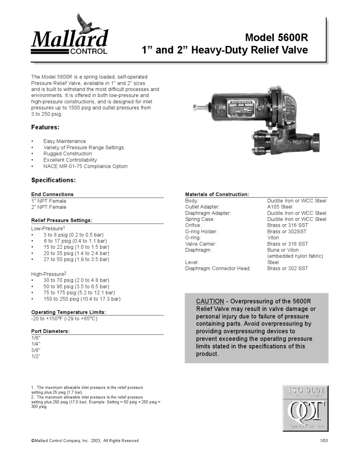5600R Relief Regulator Bulletin By RMC Process Controls Filtration Inc