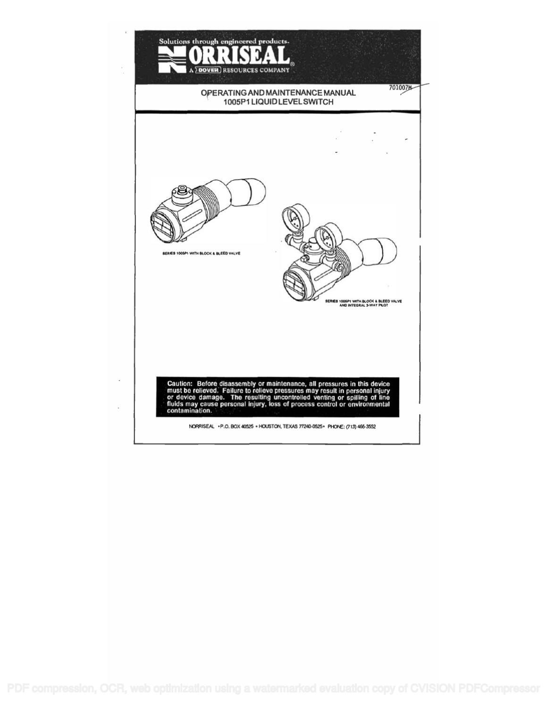 1005p1 operating  u0026 maintenance manual by rmc process controls  u0026 filtration  inc