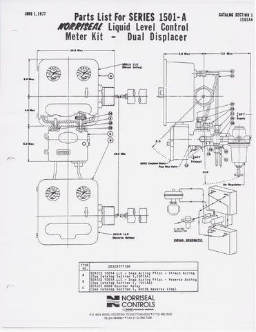 1501a Parts List Schematic By Rmc Process Controls Filtration
