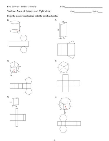 Surface Area Of Prisms And Cylinders Worksheet. Rupsucks ...