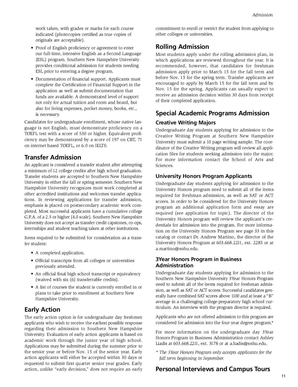 Southern New Hampshire University Undergraduate Catalog 2011 2012 By