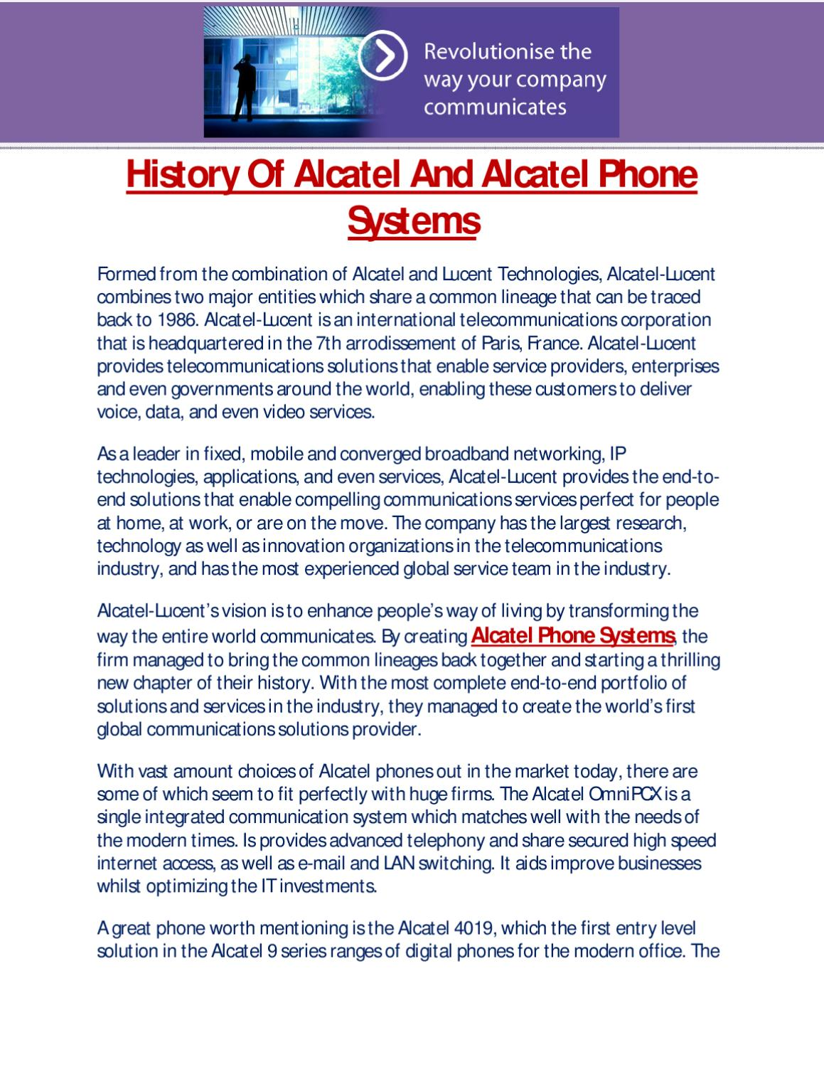 History Of Alcatel And Alcatel Phone Systems by Infiniti