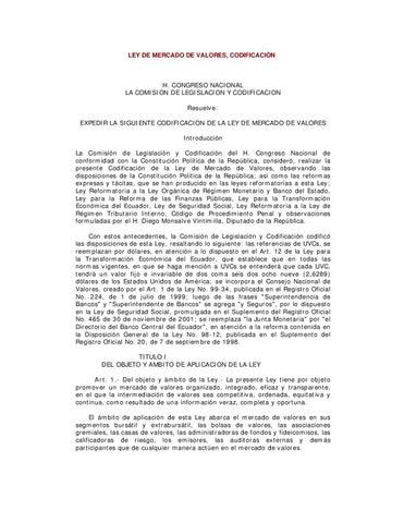 Ley de Mercado de Valores by Bolsa de Valores de Quito - issuu