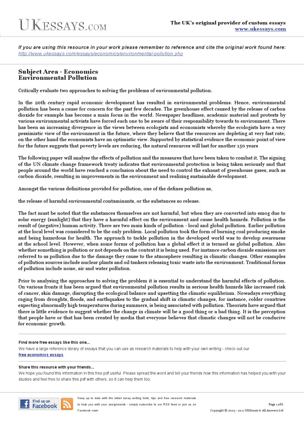 an analysis of the two approaches used to control pollution 1 | p a g e market-based instruments / economic incentives introduction this note provides guidance on the use of market-based instruments (mbis) for pollution control.