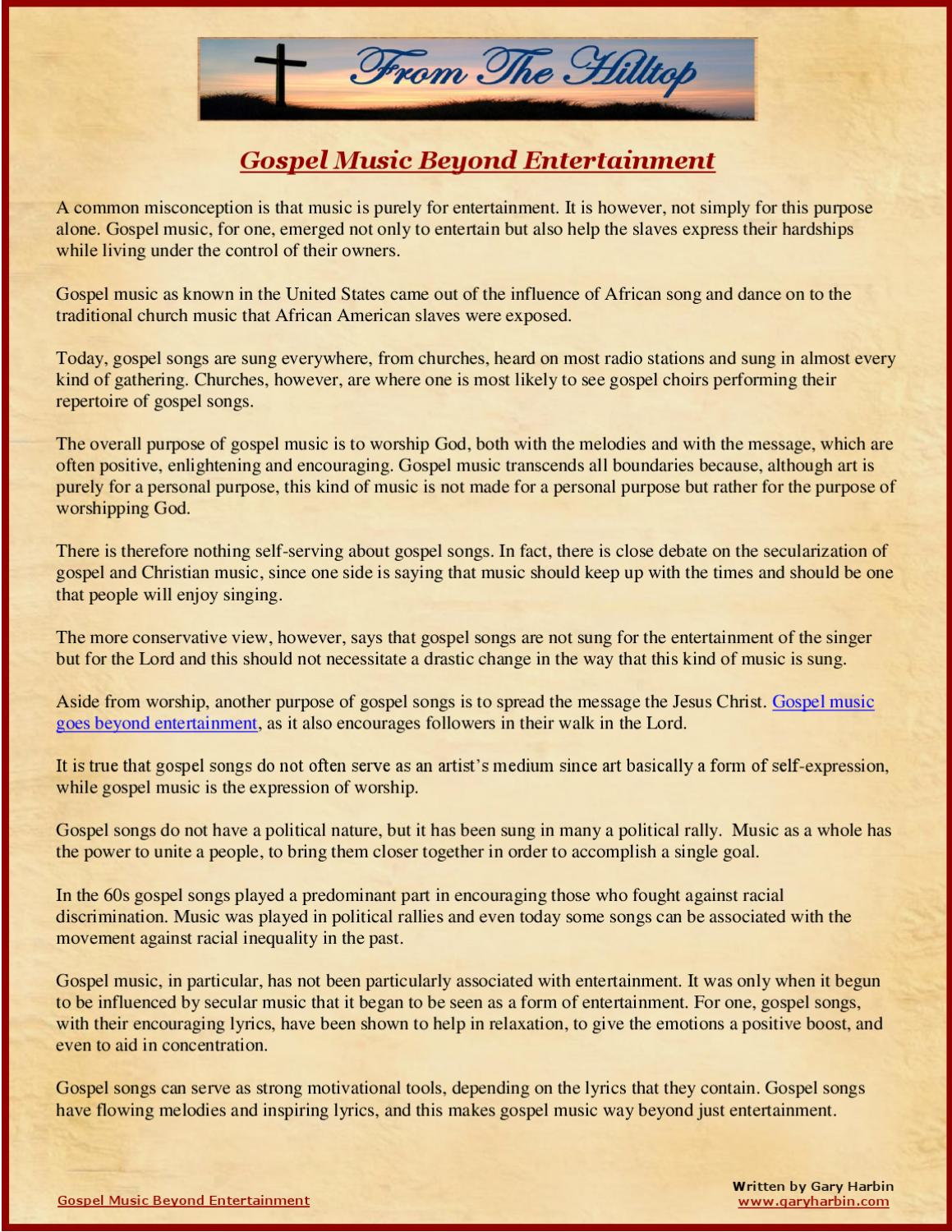 Gospel Music Beyond Entertainment by Gary Harbin - issuu