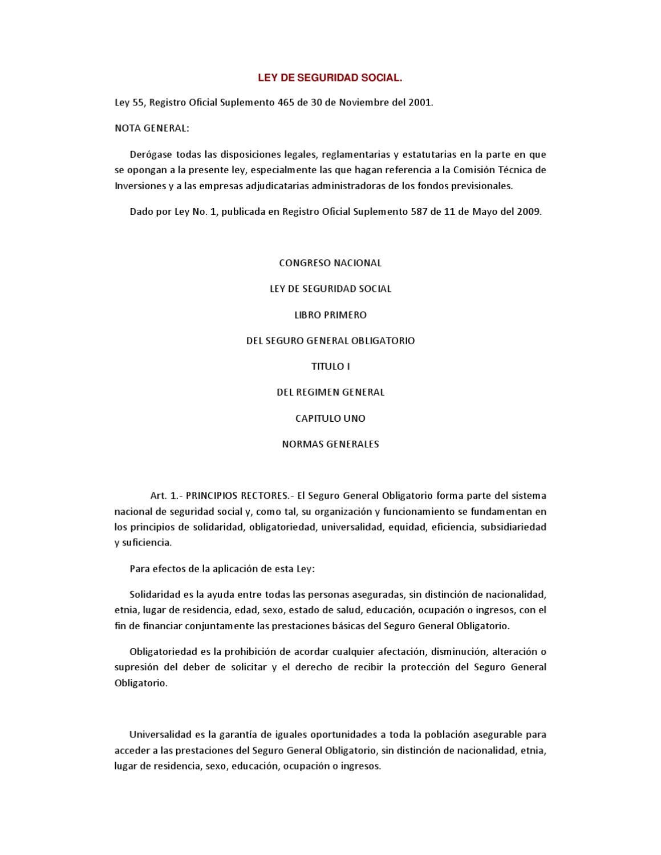 Ley de Seguridad Social by Bolsa de Valores de Quito - issuu