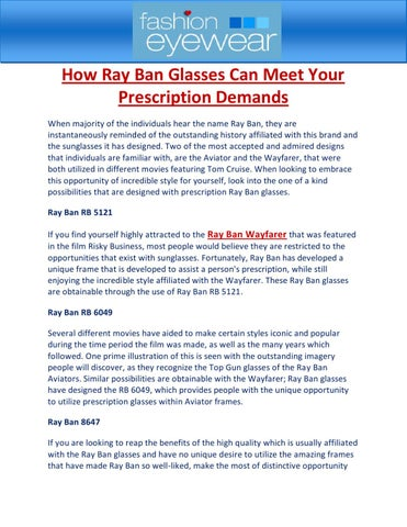 b22f5543d4d How Ray Ban Glasses Can Meet Your Prescription Demands