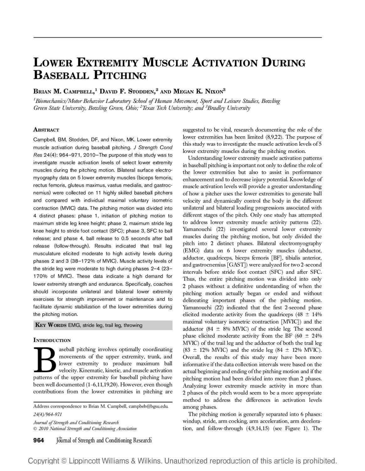 Lower Extremity Muscle Activation During Baseball By Mlb Pitching