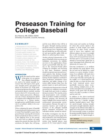 Preseason Training For College Baseball Eric Hammer MA CSCS USAW University Of Louisville Kentucky