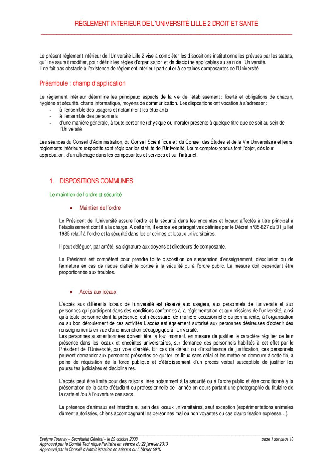Reglement int rieur de l 39 universit lille 2 by asso for Reglement interieur ce