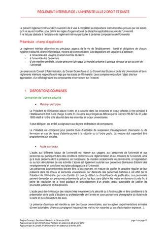 Reglement int rieur de l 39 universit lille 2 by asso - Reglement interieur copropriete modele ...