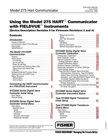 275 HART Communicator Manual by RMC Process Controls & Filtration