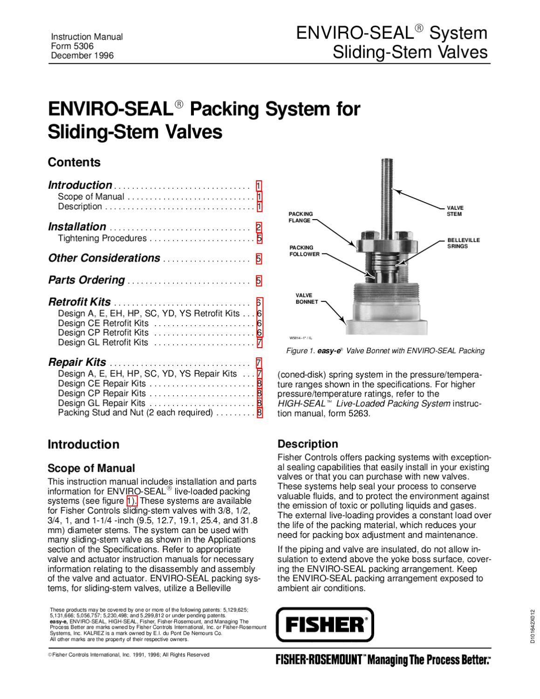 Enviroseal Packing Sliding Stem Instruction Manual By Rmc Process Controls  U0026 Filtration  Inc