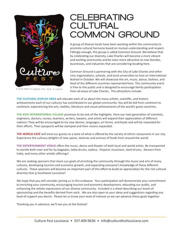 Culture Fest Louisiana Sponsor Letter By Culture Festla  Issuu