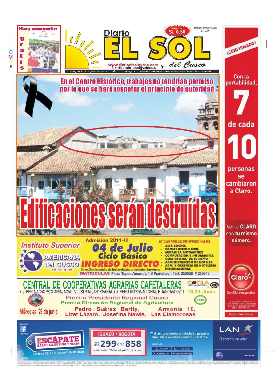 DIARIO EL SOL DEL CUSCO EDICION 27/06/2011 by Drushba Franklin ...