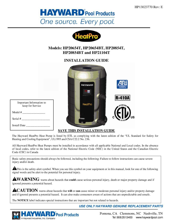 Manual De Instalacion Bomba De Calor Para Albercas Hayward
