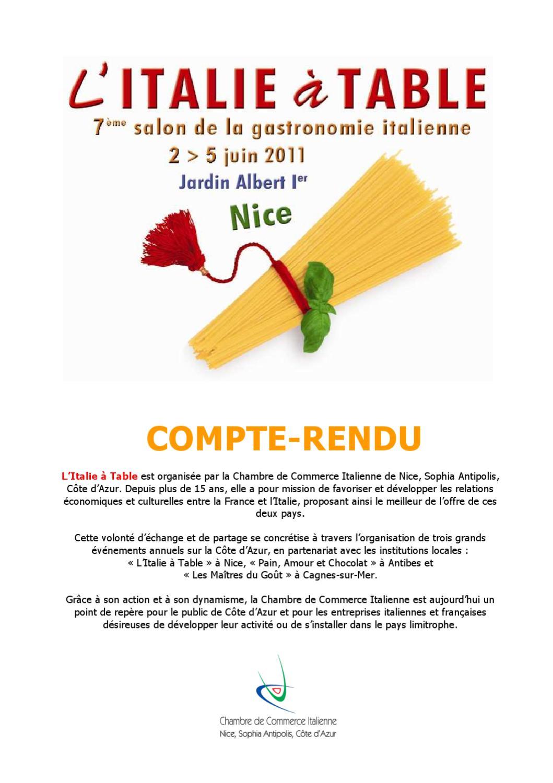 Compte rendu de l 39 italie table 2011 by chambre de commerce italienne de nice issuu - Chambre de commerce italienne en france ...