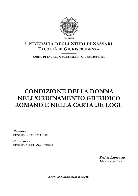 Il Matrimonio Romano Tesi : La condizione della donna nell ordinamento giuridico