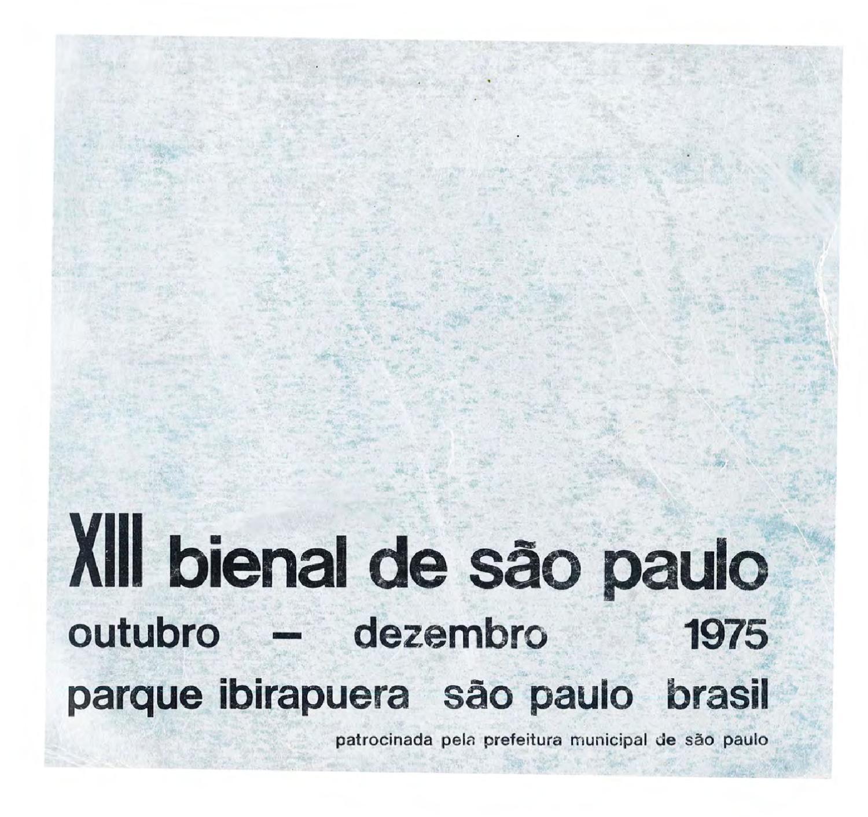 9062263034e 13ª Bienal de São Paulo (1975) - Catálogo by Bienal São Paulo - issuu