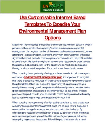 Use Customisable Internet Based Templates To Expedite Your Environmental Management Plan Options By Martin Gerardo Issuu