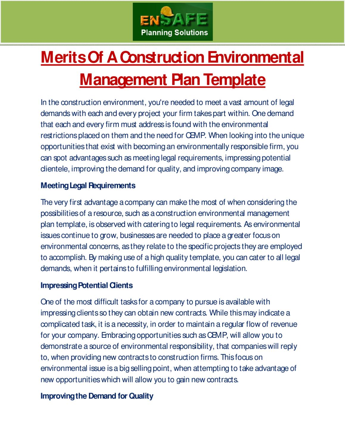 construction environmental management plan template - merits of a construction environmental management plan