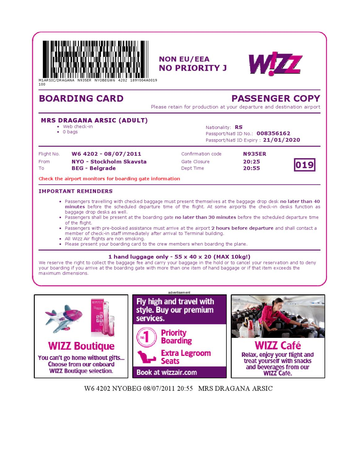 Wizzair Boarding Mrs Dragana Arsic 1 By Stevica Arsic Issuu