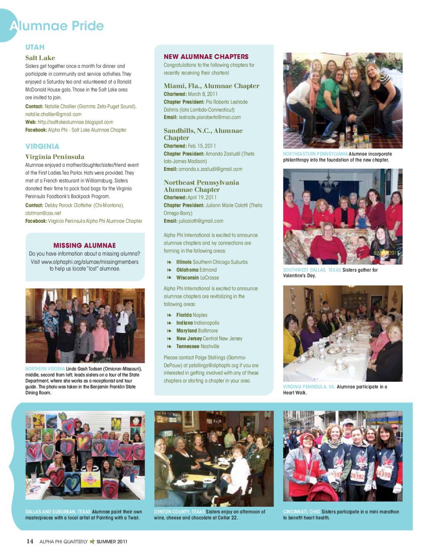 Summer 2011 Alpha Phi Quarterly By Alpha Phi International