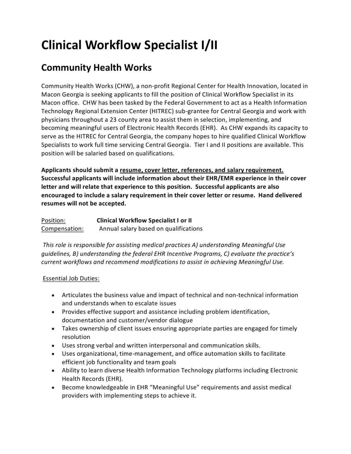 clinical workflow specialist i or ii by community health works issuu
