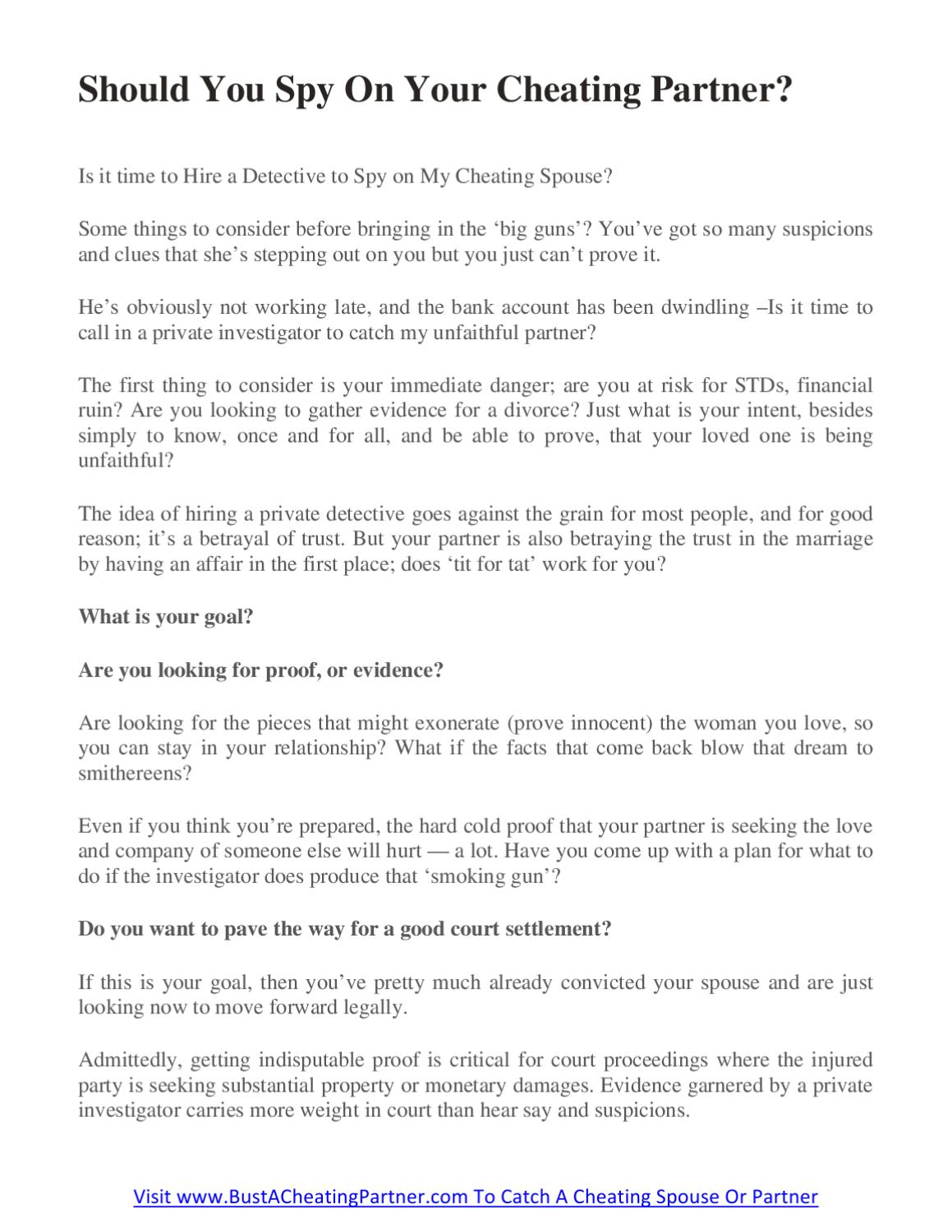 Should You Spy On Your Cheating Partner by Dan sri - issuu