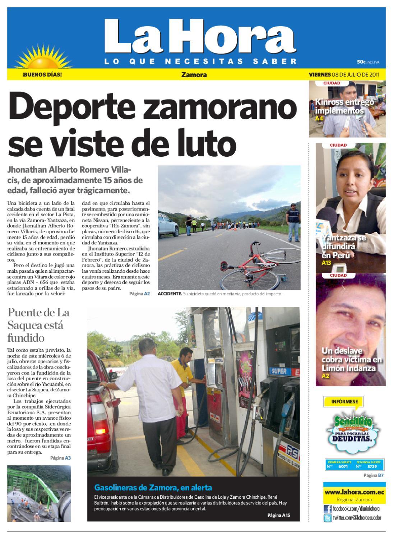 Diario La Hora Zamora 08 De Julio 2011 By Diario La Hora Ecuador  # Muebles Paquita Santa Cruz De La Zarza