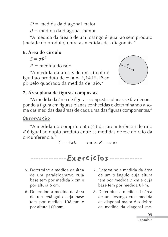 Matematica concursos by clic tapejara issuu for Um losango e interno a uma circunferencia de 6cm de raio